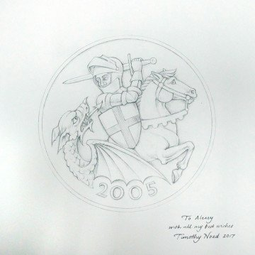 Design of the print for gold sovereign UK coin