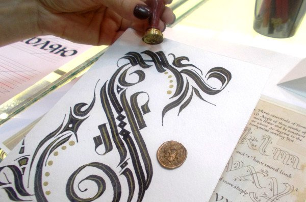 Calligraphy and cadel flourishing at Broad Pen crash course