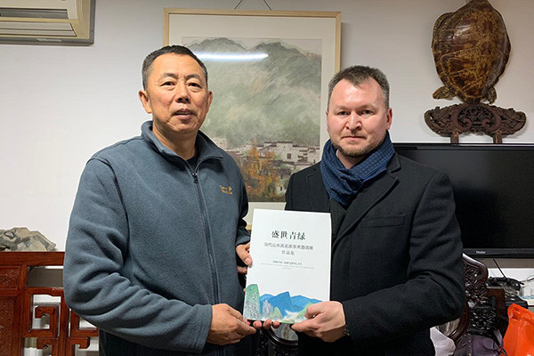 Management of Contemporary Museum of Calligraphy met with artist Gu Daming in Beijing