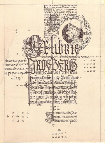 Ex Libris Prospero. Page 1 from the Prospero's Books series