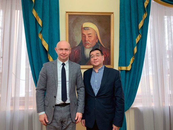Director of the World Calligraphy Museum Aleksey Shaburov visited the Embassy of Mongolia in Russian Federation