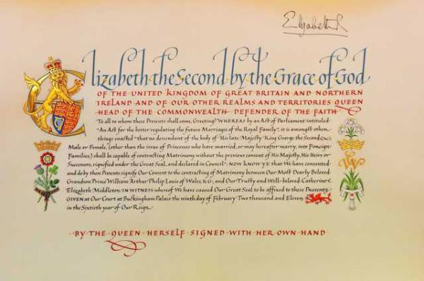 Королева Елизавета дала своё согласие на королевскую свадьбу