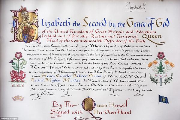 Официальное согласие на свадьбу Принца Гарри с Меган Маркл, составленное и подписанное Королевой