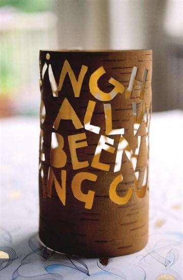 """My Homage"" – a birch bark lantern, tinsel gilded interior"