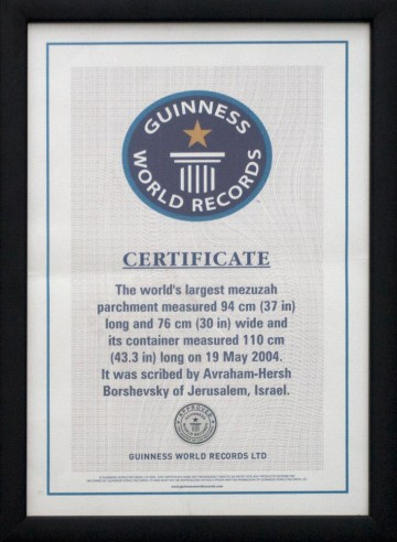 The World Famous Mezuzah. The original certificate