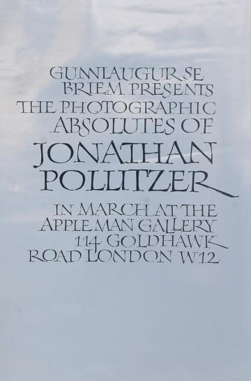 Exhibition poster. Jonathan Pollitzer