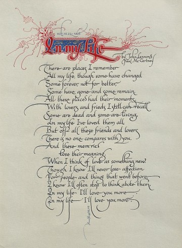 "Handwritten songbook. Page ""In my life"""