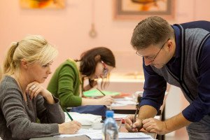 Students of the Pointed Pen course at class