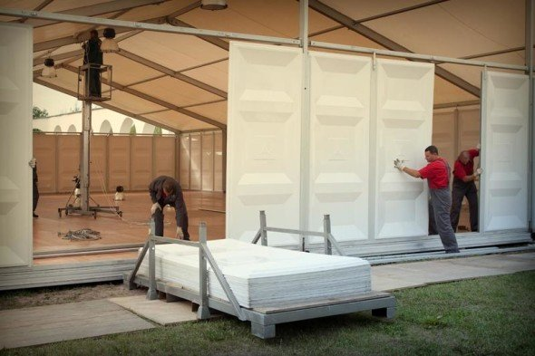 Building of pavilions for the III International Exhibition of Calligraphy