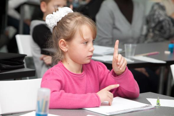 书法学校儿童班的第一节课