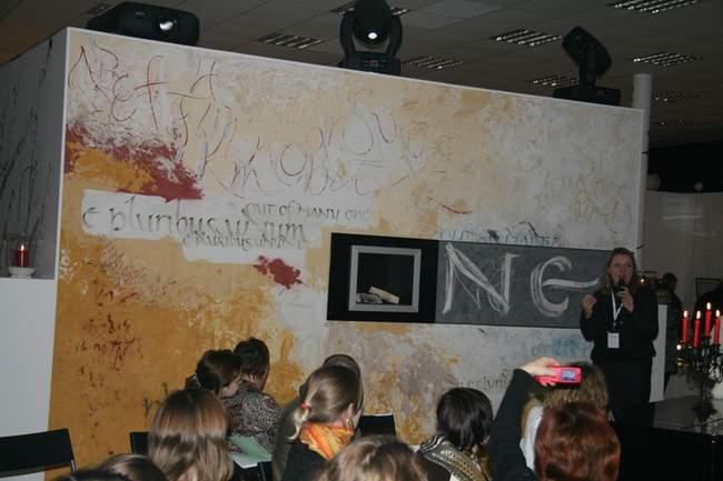 13 декабря 2008 г. «Шёпот стены: иллюзия и каллиграфия». Мастер-класс немецких каллиграфов и дизайнеров Андреа Вундерлих и Фолькера Томаса Вундерлиха