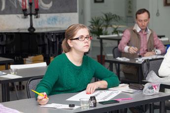 Заключительные занятия в Школе каллиграфии