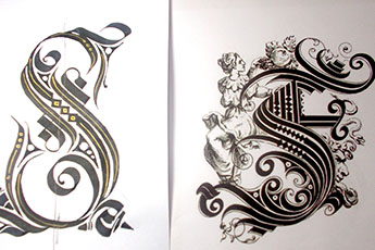 Calligraphy And Cadel Flourishing At Broad Pen Crash