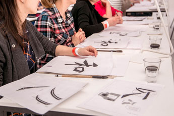 Practical Japanese calligraphy workshop by Kaori Isidzima, Japan