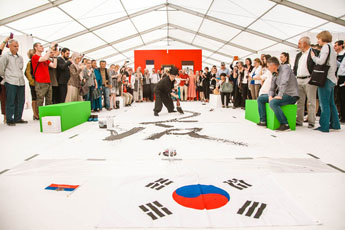 Calligraphy performance by Kim Jong Chil, Korea