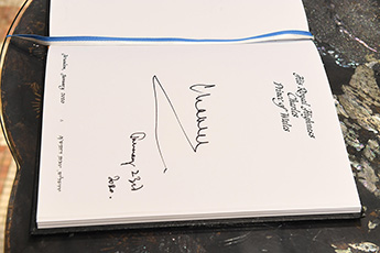 The Prince of Wales Charles' record in the handwritten Guestbook of the Israeli President